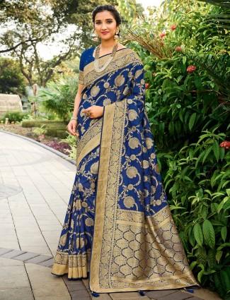 Blue saree for wedding function in banarasi silk