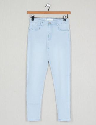 Blue solid denim causal wear for women wear
