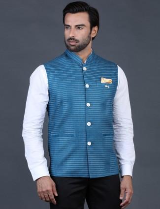 Blue stripe waistcoat in terry rayon