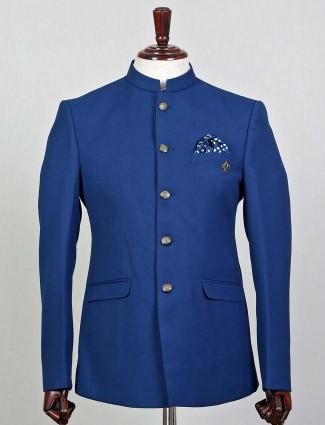 Blue terry rayon jodhpuri party wear blazer