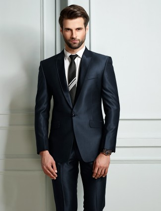 Blue terry rayon solid mens coat suit