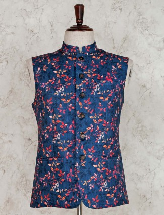 Blue terry rayon stand collar waistcoat