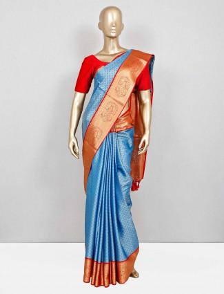 Blue wedding south silk saree for festival