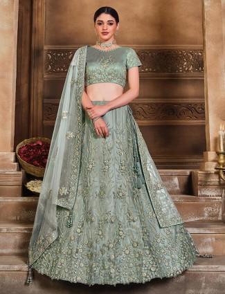 Bluish grey colored heavy semi stitched lehenga cholo for wedding