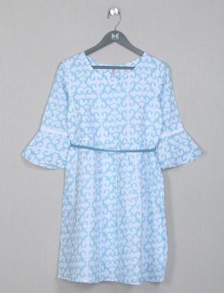 Boom aqua hue printed casual top for women