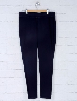 Boom navy blue casual jeggings in cotton