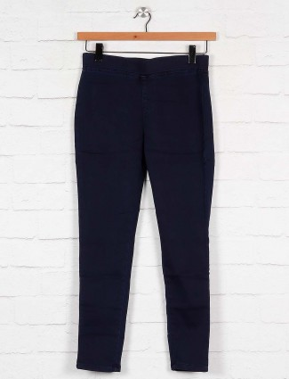Boom navy blue cotton fabric jeggings