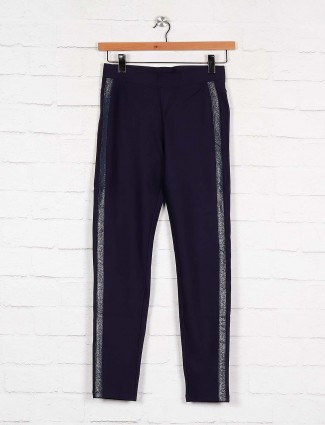 Boom navy blue slim fit casual jeggings in cotton