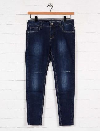 Boom navy blue washed denim casual denim jeans