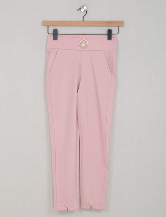 Boom powder pink solid style jeggings for women
