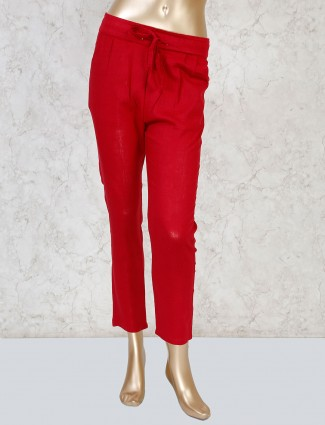 Boom red linen casual get together payjama