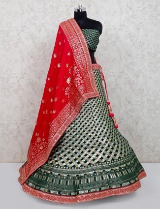 Bottle green colour banarasi silk for wedding session