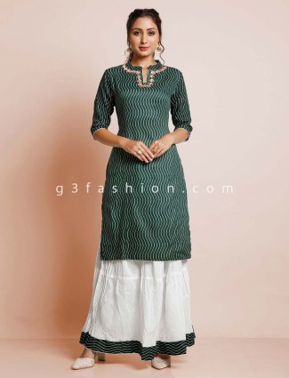 Bottle green designer cotton casual wear palazzo style suit