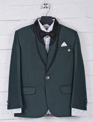 Bottle green hue terry rayon fabric tuxedo suit