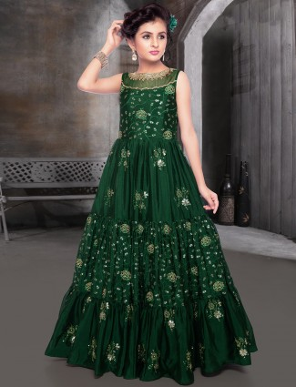 Bottle green raw silk party occasion gown