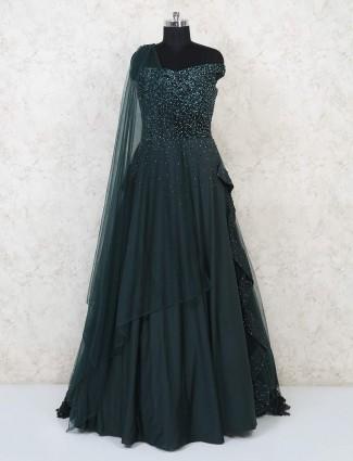Bottle green satin designer gown