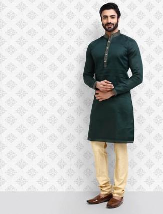 Bottle green solid festive wear kurta suit