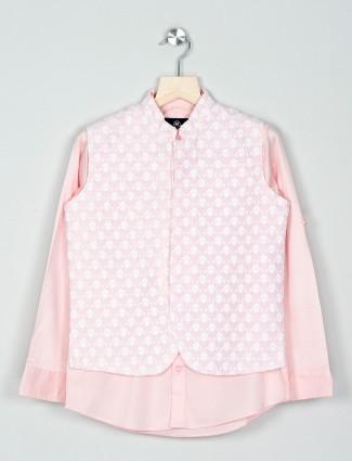 Boys pink cotton party wear waistcoat