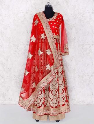 Bright red wedding wear anarkali lehenga cum salwar suit