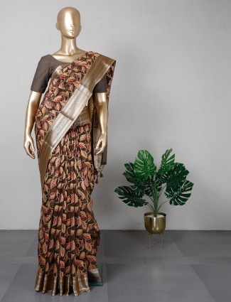 Brown banarasi cotton silk festive saree