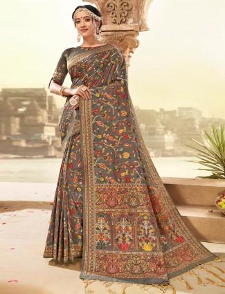 Brown banarasi silk saree for wedding days