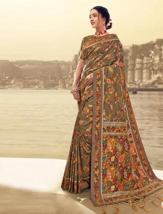 Brown banarasi silk saree for wedding function