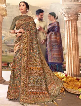 Brown banarasi silk saree for wedding occasion