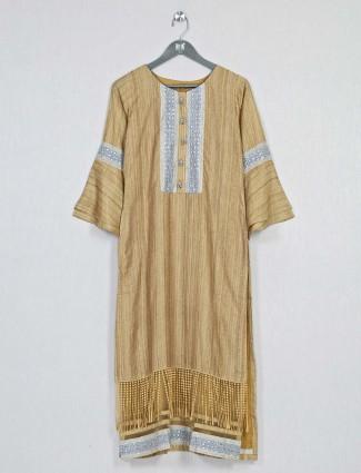 Brown casual wear cotton kurti for women