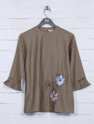 Brown color cotton fabric top