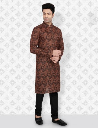 Brown color cotton full sleeves kurta suit