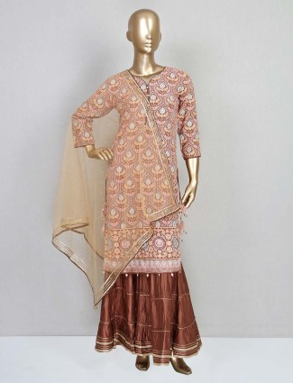 Brown cotton silk embroidery sharara suit