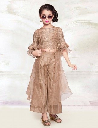 Brown cotton silk palazzo suit with jacket for girls