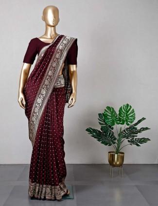 Brown cotton silk women saree