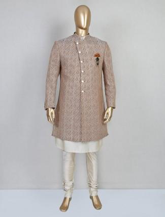 Brown designer silk indo western for wedding