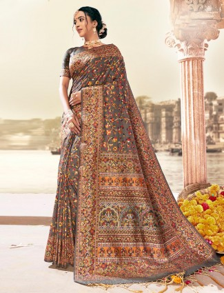 Brown designer wedding banarasi silk saree