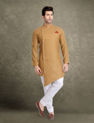 Brown festive solid traditional kurta suit