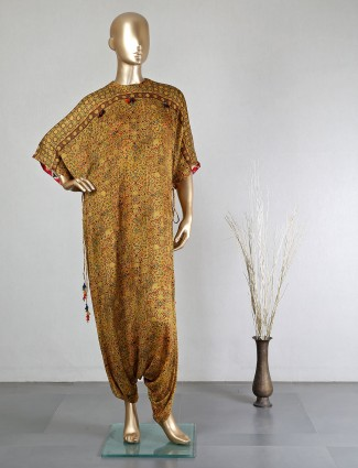 Brown georgette dhoti style salwar suit for festive