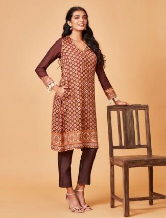 Brown hue printed pure raw silk punjabi salwar suit
