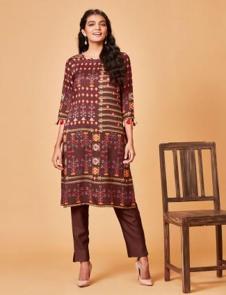 Brown hue pure raw silk punjabi salwar suit