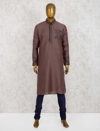 Brown party wear cotton silk kurta suit