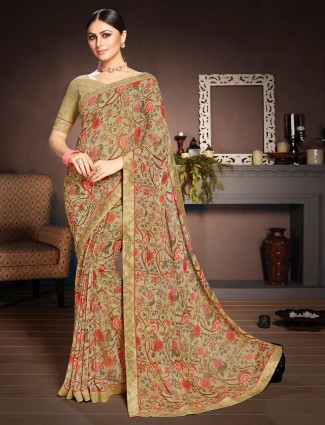 Brown prined saree in georgette with stain border