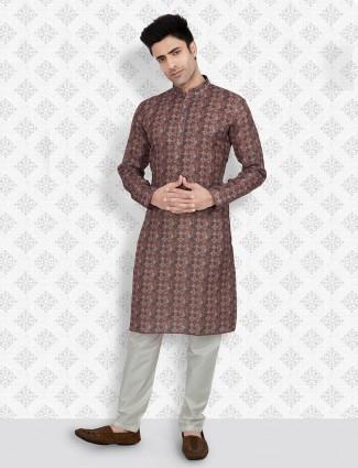 Brown printed cotton full sleeeves kurta suit
