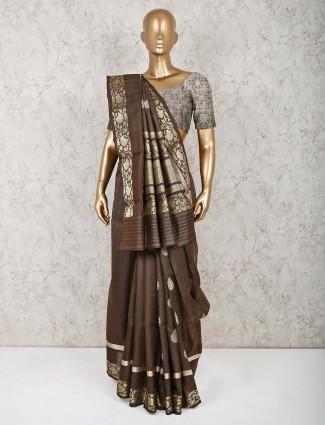Brown pure silk saree