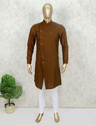 Brown solid cotton festive kurta suit