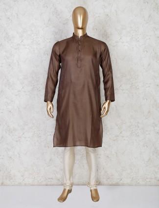 Brown solid cotton festive wear kurta suit