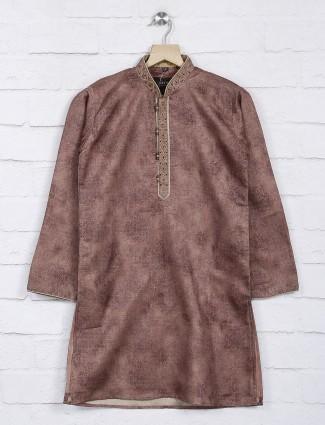 Brown solid half buttoned kurta suit
