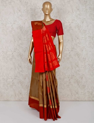 Brown south silk festive saree