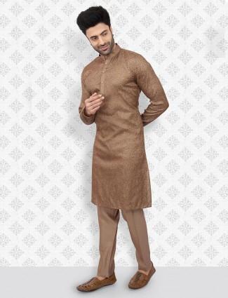 Brown stand collar kurta suit for mens
