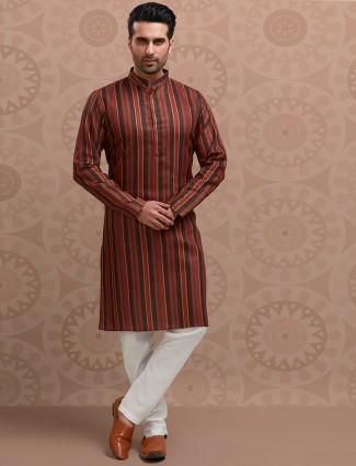 Brown stripe festive kurta suit in cotton