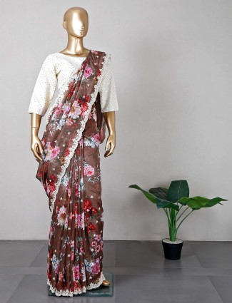 Brown tissue silk saree for wedding functions